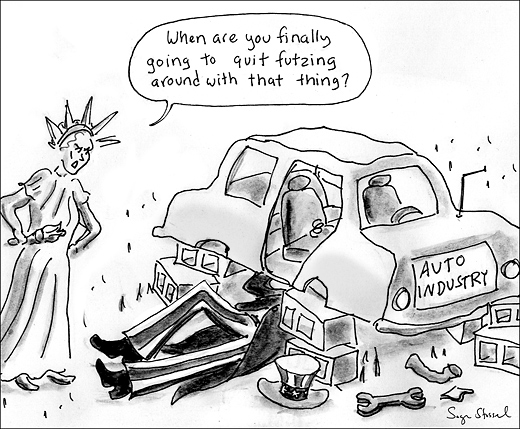 cartoon about bailout of big three automakers