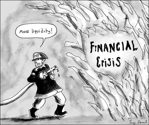 cartoon about financial crisis and credit freeze and bailout