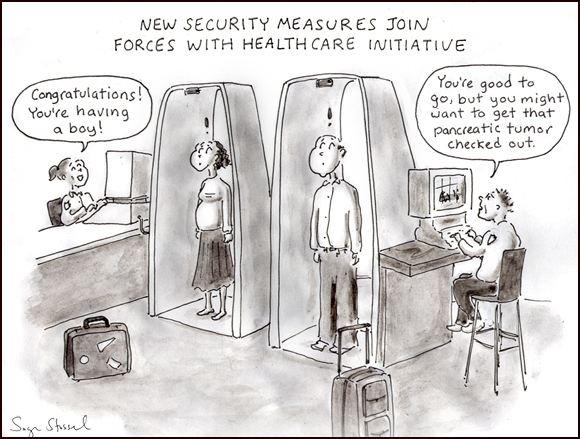 airport security screening cartoon