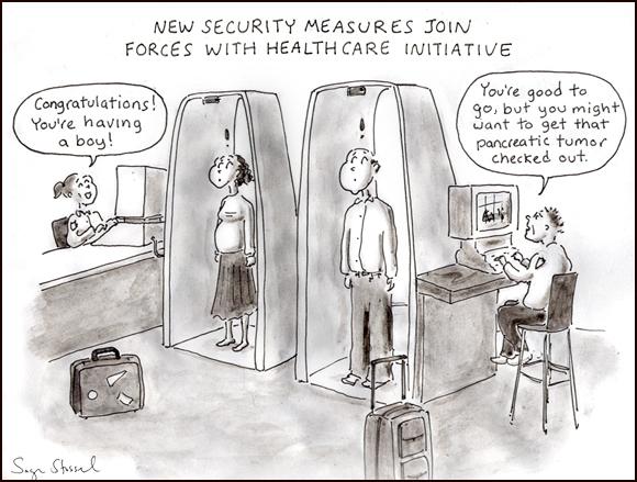 airport security screening cartoon