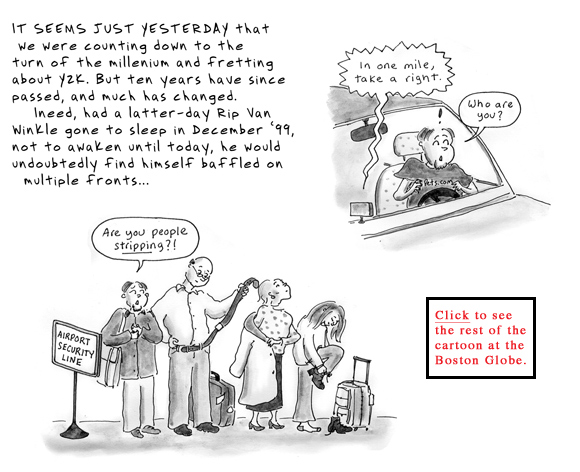 2000s end of decade cartoon rip van winkle gps terrorism kindles
