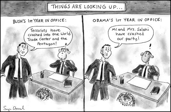 cartoon about mr. and mrs. salahi crashing white house state dinner