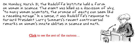 women in science radcliffe larry summers sketchbook
