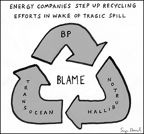 bp, transocean, halliburton oil spill blame game cartoon