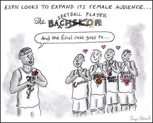 lebron james, cavaliers, espn special, new york knicks, chicago bulls, miami heat, bachelor, basketball, female tv demographic, cartoon