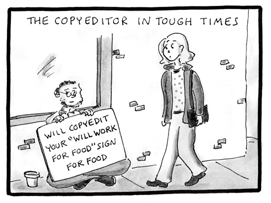 copyeditors in tough times cartoon