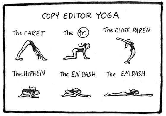 yoga for copyeditors cartoon