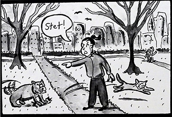 copyeditor dogwalker cartoon