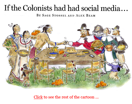 If the colonial americans had twitter, facebook places, iphones, social media cartoon