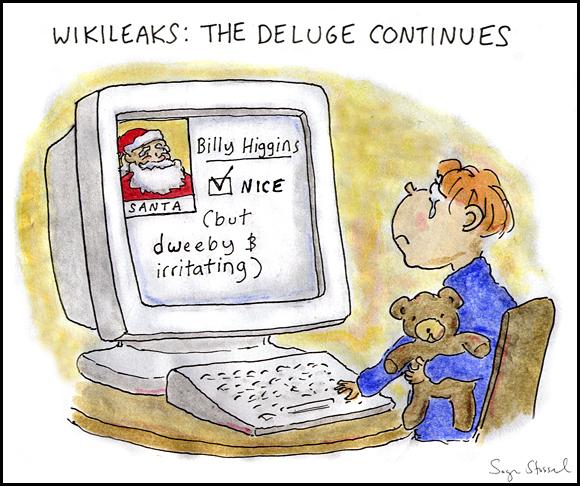 wikileaks, julian assange, diplomatic cables, christmas, santa claus cartoon