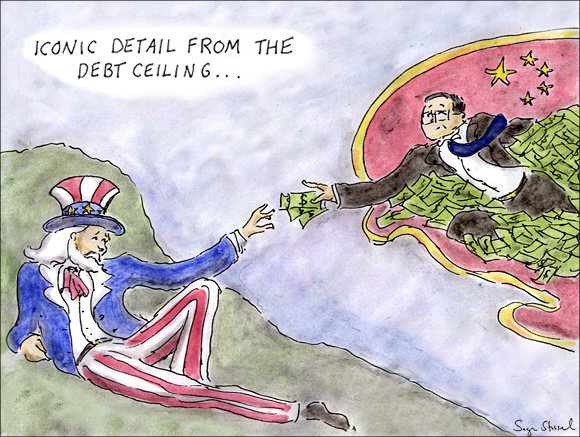 debt ceiling, timothy geithner, china lend, budget battle, tea party, default cartoon