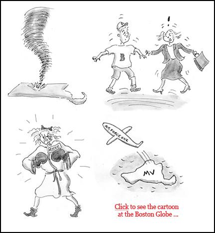 hurricane irene, east coast earthquake, obama martha's vineyard cartoon