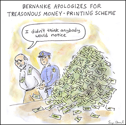 rick perry, bernanke treason, print money cartoon, fed