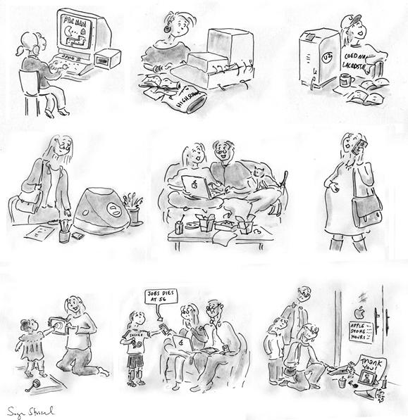 steve jobs death, apple, outpouring, cartoon