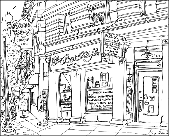 Bartley's Burger Cottage Harvard Square pen & ink illustration Sage Stossel