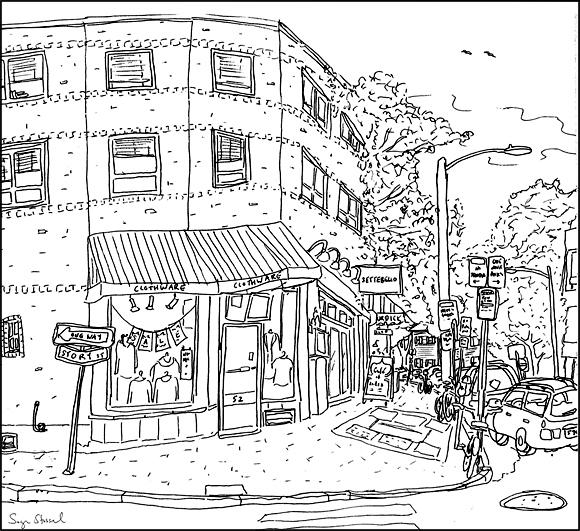 Brattle street Harvard Square pen & ink illustration Sage Stossel