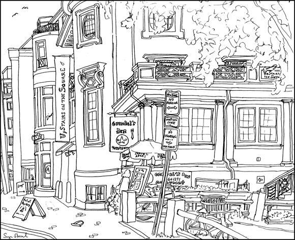Grendel's Den, Upstairs on the Square Harvard Square pen & ink illustration Sage Stossel