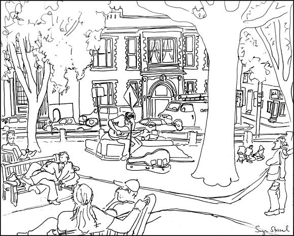 Street Musician in Winthrop Park, Harvard Square pen & ink illustration Sage Stossel