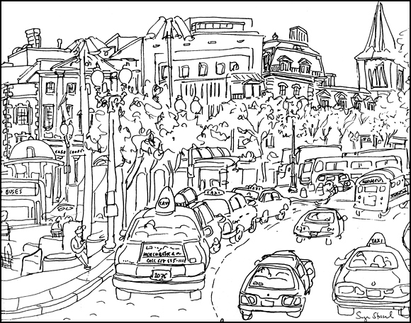 taxis, out of town news, Harvard Square pen & ink illustration Sage Stossel