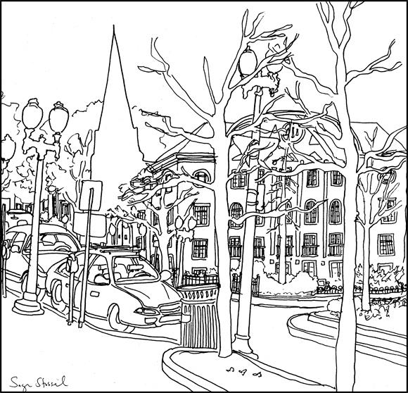 the Inn at Harvard, Old Cambridge Baptist Church, Harvard Square pen & ink illustration Sage Stossel