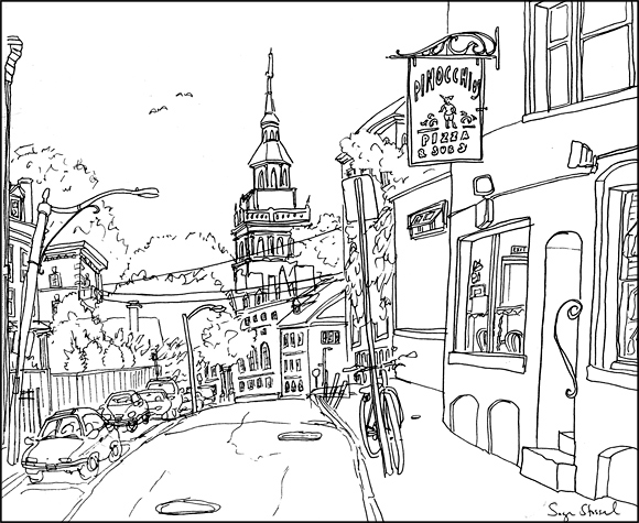 Pinocchio's Pizza, Harvard Square pen & ink illustration Sage Stossel