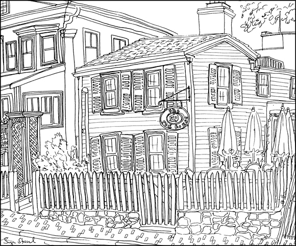 The Red House restaurant Harvard Square pen & ink illustration Sage Stossel