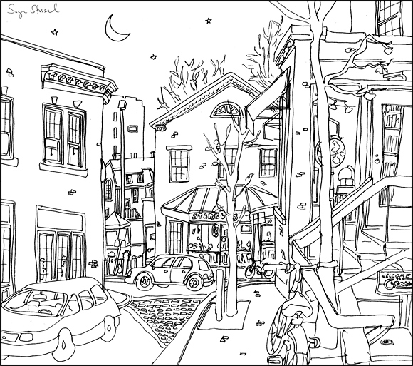 Church Street Starbucks Harvard Square pen & ink illustration Sage Stossel