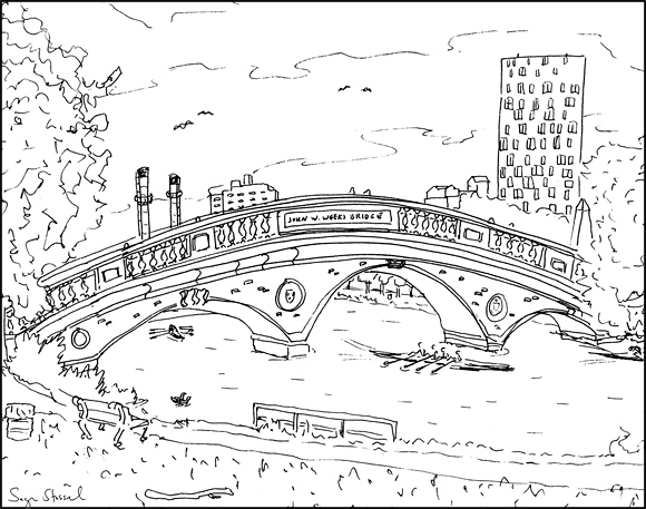 Charles River Weeks Bridge Harvard Square pen & ink illustration Sage Stossel