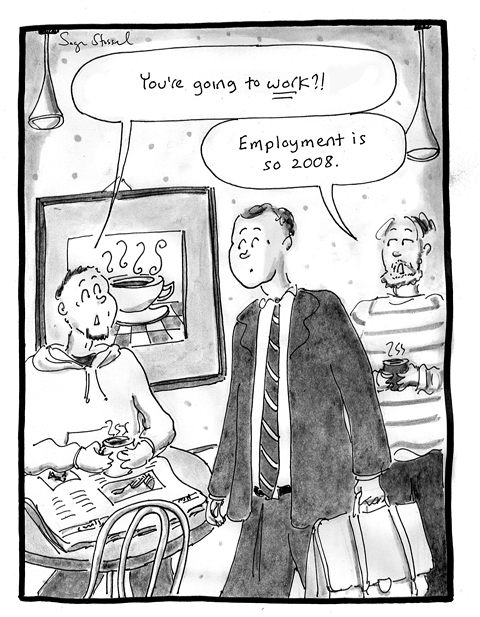 economic collapse, unemployment, fall 2008, 2009, cartoon