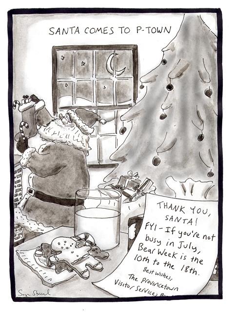 provincetown Christmas, santa claus, bear week, cartoon