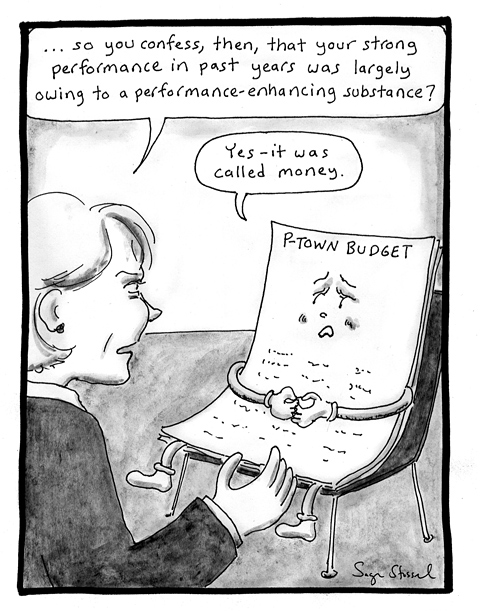 budget deficit, performance enhancing substance, provincetown, economy, recession, cartoon