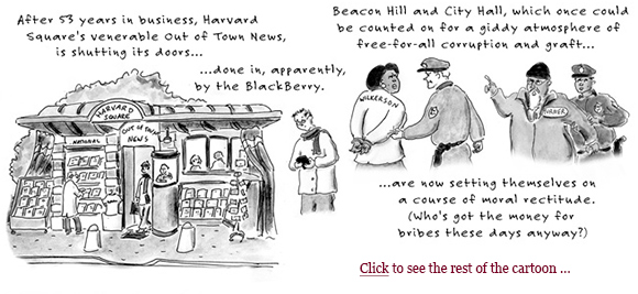 2008 crash, layoffs, east boston tolls, out of town news harvard square, diane wilkerson, chuck turner, obama election, hope and change boston globe cartoon