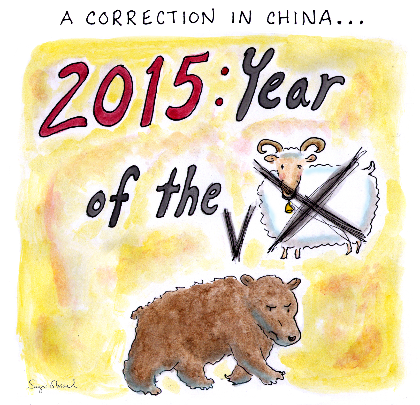 china, stock market, emerging markets, dow, volatility, global recession, risks,instability, currency, chinese zodiac, year of the sheep, august 2015, cartoon