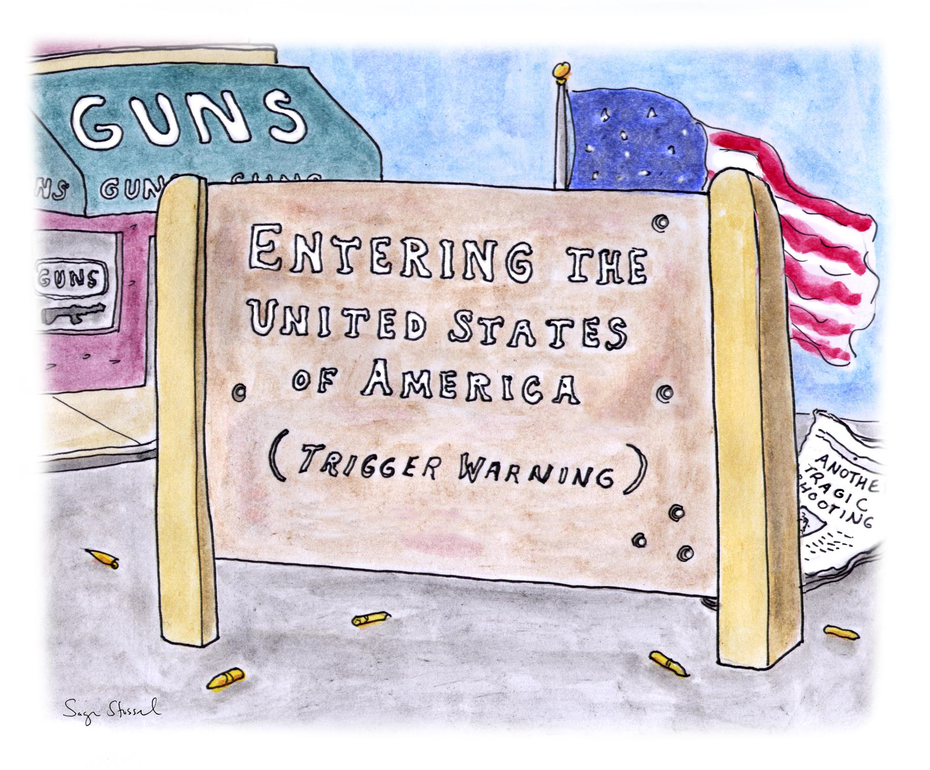 roanoke shooting, gun violence, bryce williams, vester flanagan, charleston church shooting, dylan roof, columbine, newtowne, sandy hook, second amendment, gun laws, movie theater shootings, NRA, gun lobby, cartoon