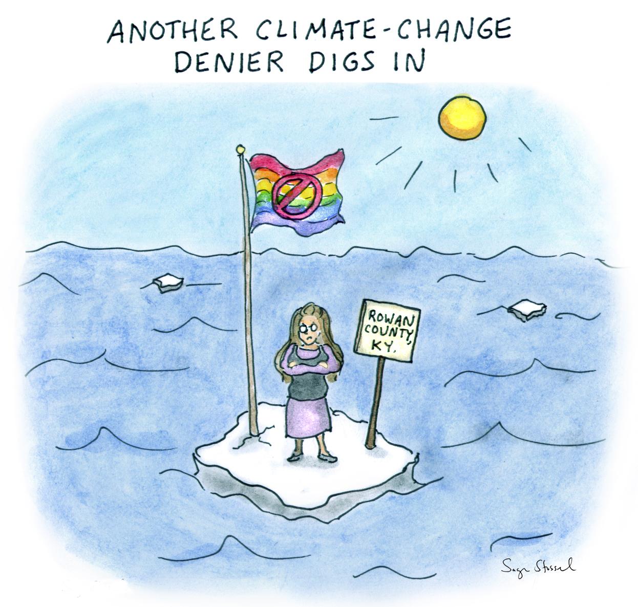 climate change, rowan county, kentucky clerk, kim davis, gay marriage licenses, cartoon
