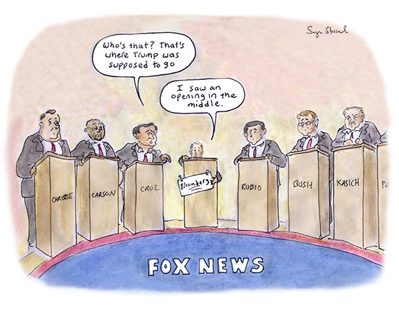 fox republican debate, trump, megyn kelly, putin, bloomberg, billionaire candidate, middle, electorate, candidates, podiums, cartoon