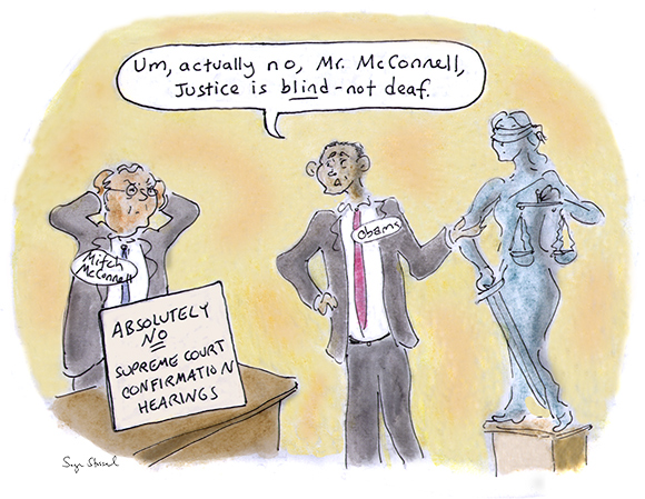 mitch mcconnell, obstructionist, senate, supreme court nominee, hearings, scalia death, balance, justice, minerva cartoon