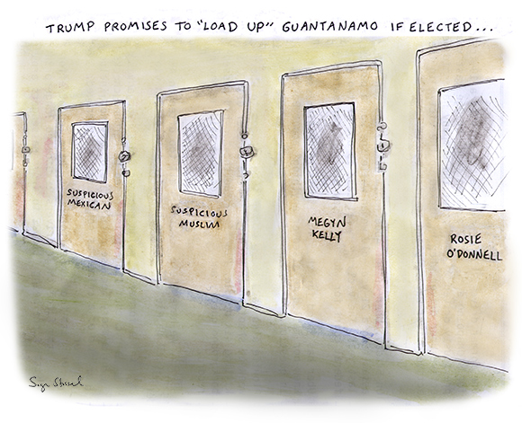 guantanamo, trump, megyn kelly, rosie o'donnell, gop primary, republican candidate, 2016 election, cartoon