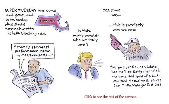 super tuesday, primaries, presidential election 2016, trump, mitt romney, republicans, kasich, rubio, scott brown, elizabeth warren, cape breton, cartoon, sage stossel