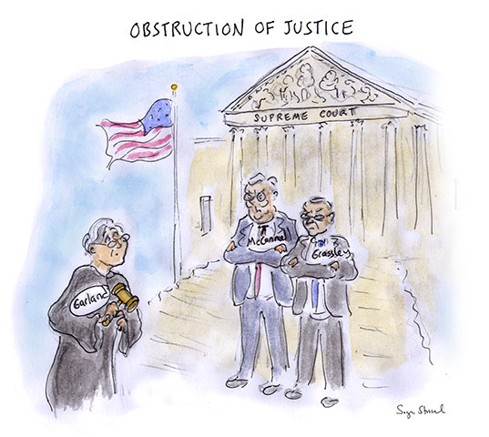 supreme court nominee, merrick garland, obstructionist republican senate, mitch mcconell, chuck grassley, up-or-down vote, hearings, lame duck, cartoon