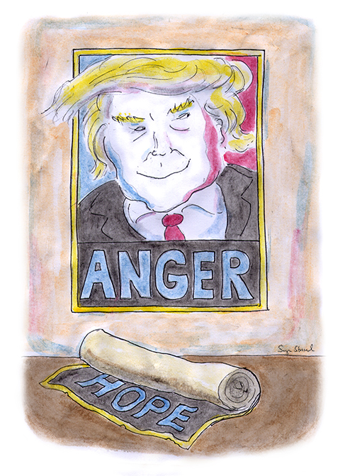 donald trump, shepard fairey, obama, hope and change, anger, voter demographics, fascism, economy, recession, trade, middle class, blue collar, outsourcing, employment, demagogue, cartoon