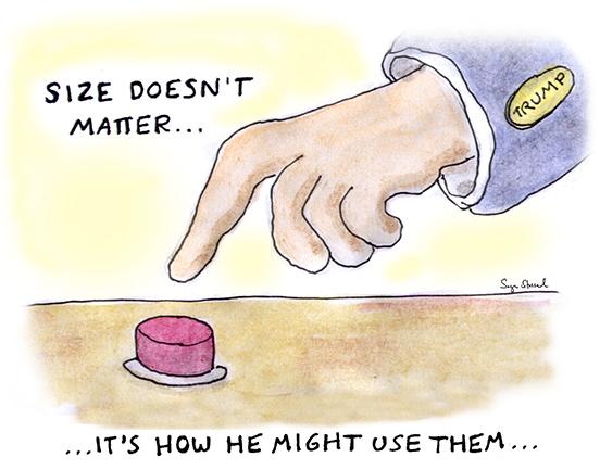 donald trump, hands, orange, spray tan, little rubio, temperament, debates, 2016 election primary, nuclear button, unfit president, cartoon