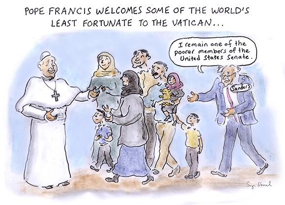 bernie sanders, vatican, poorest member of the senate, hillary clinton debate, pope francis, lesbos, syrian refugees, cartoon