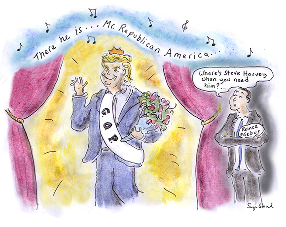 donald trump, republican nominee, clinch, reince priebus, 2016 election primary, general election, indiana, cruz drop out, beauty pageant, miss america, cartoon