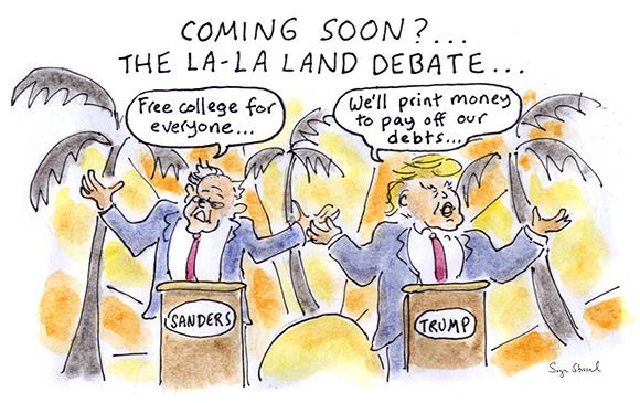 democratic primary, bernie sanders, trump sanders debate, jimmy kimmel, california primary, hillary clinton, 2016 presidential election cartoon