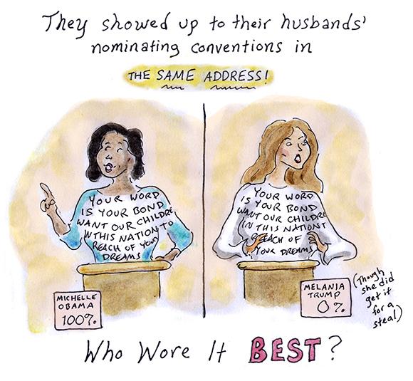 melania trump rnc convention speech, michelle obama, plagiarism, first lady, cartoon