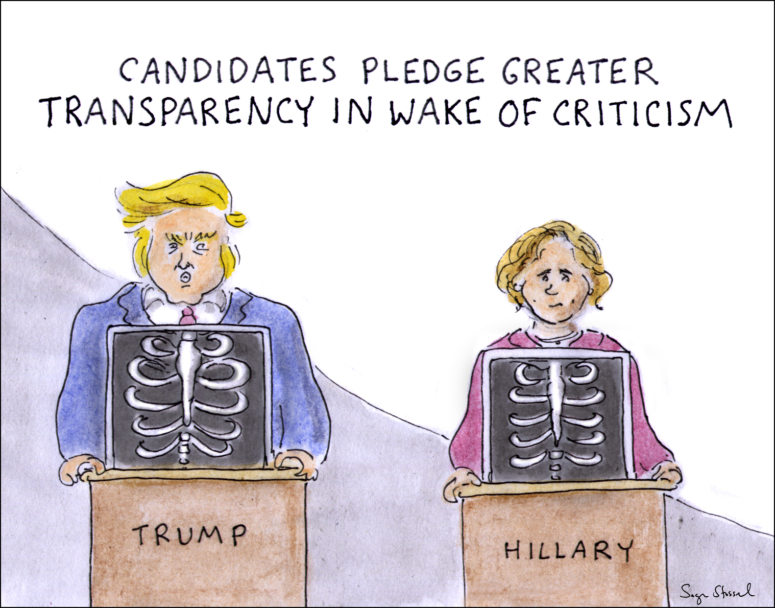 hillary faint, pneumonia, 9/11 memorial, coughing, trump doctor, lisa bardach, 2016 campaign, candidate health, seizures, cartoon