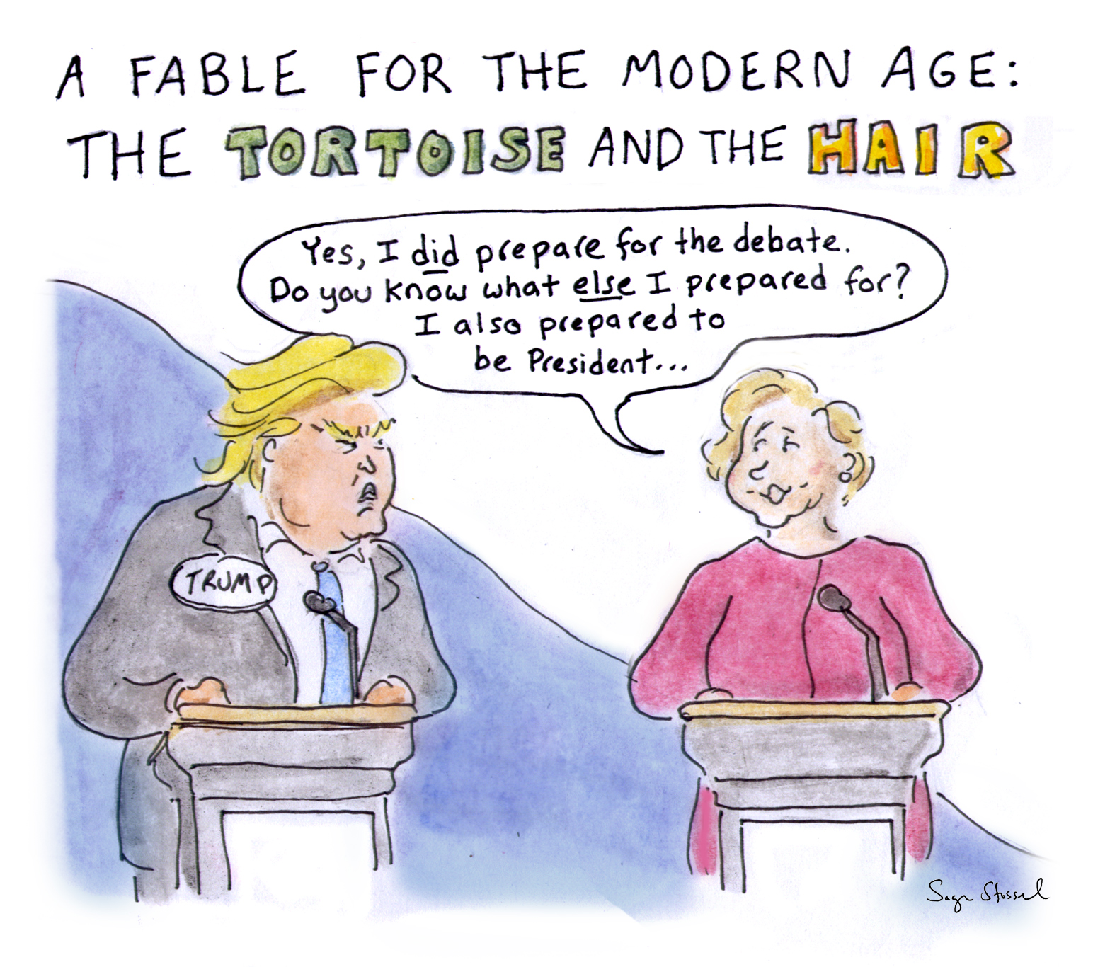 hofstra debate, trump, clinton, rosie o'donnell, debate preparation, interruption, sniff, microphone, lester holt, cartoon