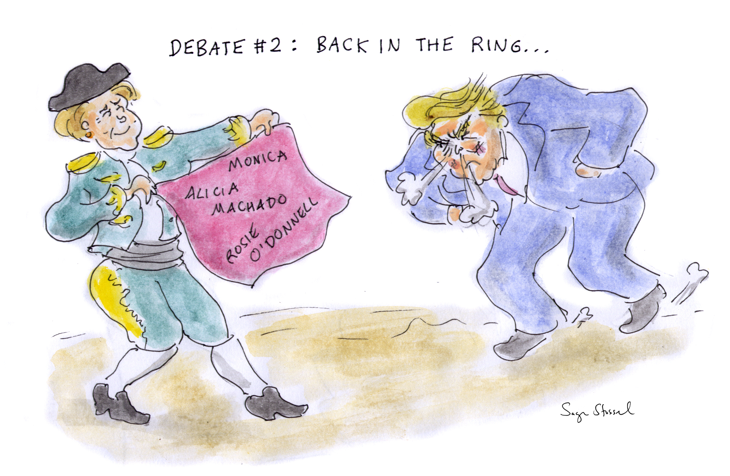 clinton trump second presidential debate, anderson cooper, cnn, cartoon