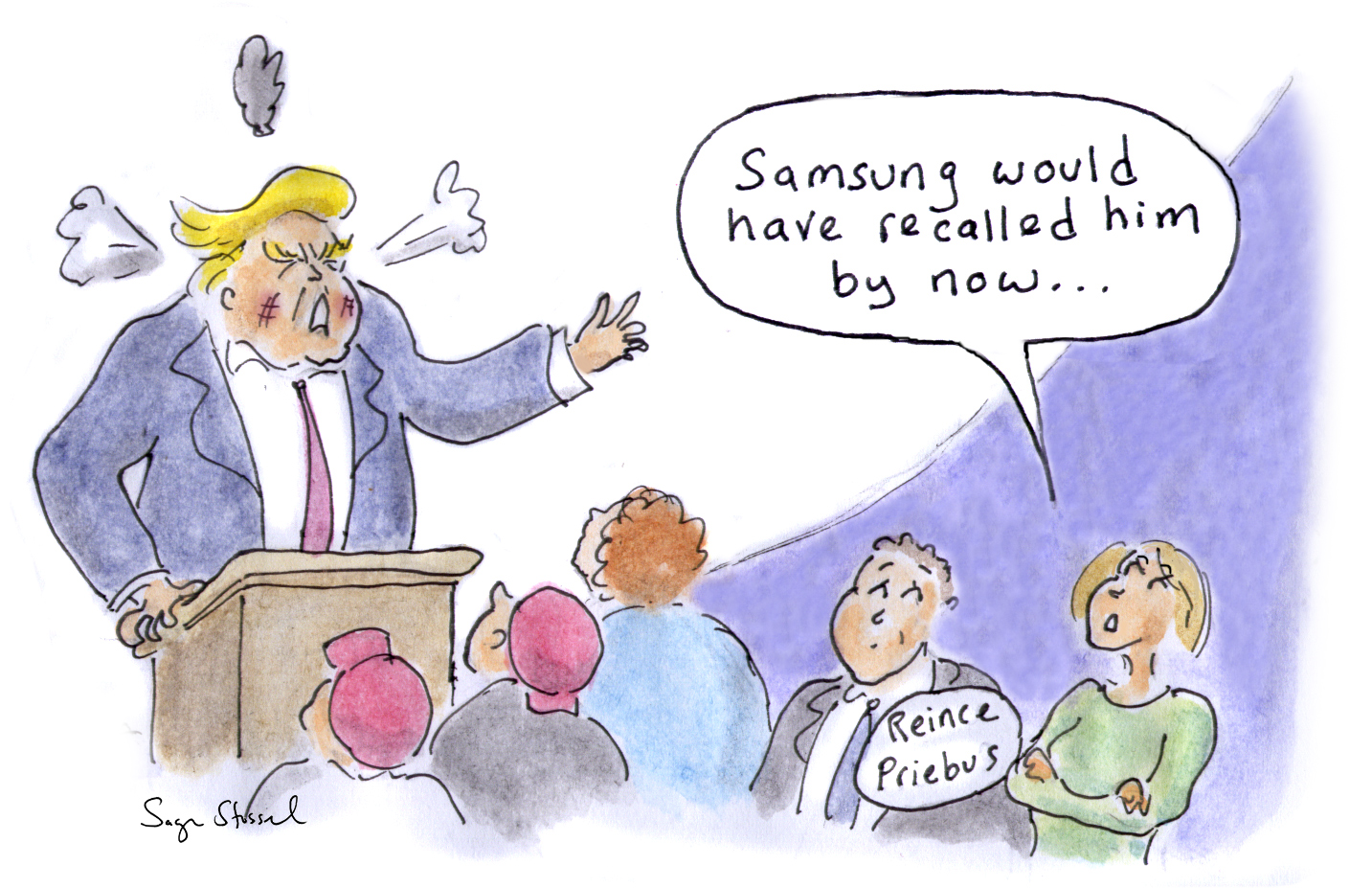 samsung, galaxy note, exploding phones, recall, ntsb airplane ban, trump, groping women, lash out, meltdown, election, cartoon
